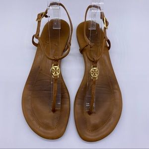 Tory Burch Emmy Brown Leather Thong Flat Sandals